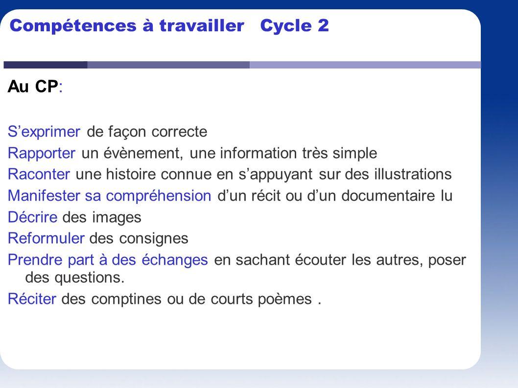 Compétences à travailler Cycle 2 Au CP: Sexprimer de façon correcte Rapporter un évènement, une information très simple Raconter une histoire connue e