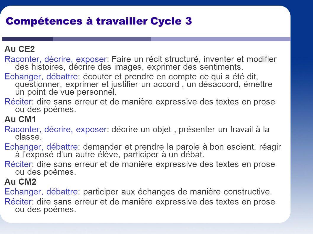 Compétences à travailler Cycle 3 Au CE2 Raconter, décrire, exposer: Faire un récit structuré, inventer et modifier des histoires, décrire des images,