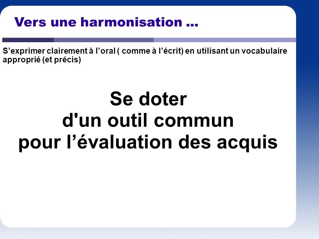 Vers une harmonisation... Se doter d'un outil commun pour lévaluation des acquis Sexprimer clairement à loral ( comme à lécrit) en utilisant un vocabu