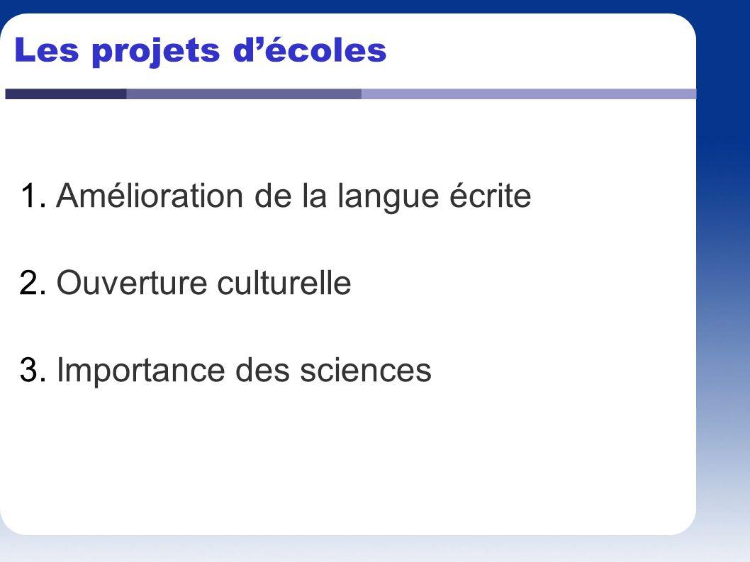 Les projets décoles 1.Amélioration de la langue écrite 2.Ouverture culturelle 3.Importance des sciences