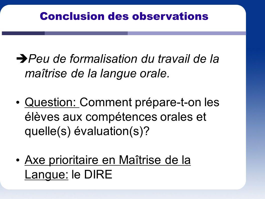 Peu de formalisation du travail de la maîtrise de la langue orale. Question: Comment prépare-t-on les élèves aux compétences orales et quelle(s) évalu