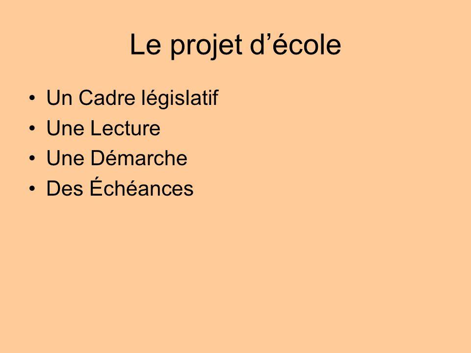 Le projet décole Un Cadre législatif Une Lecture Une Démarche Des Échéances