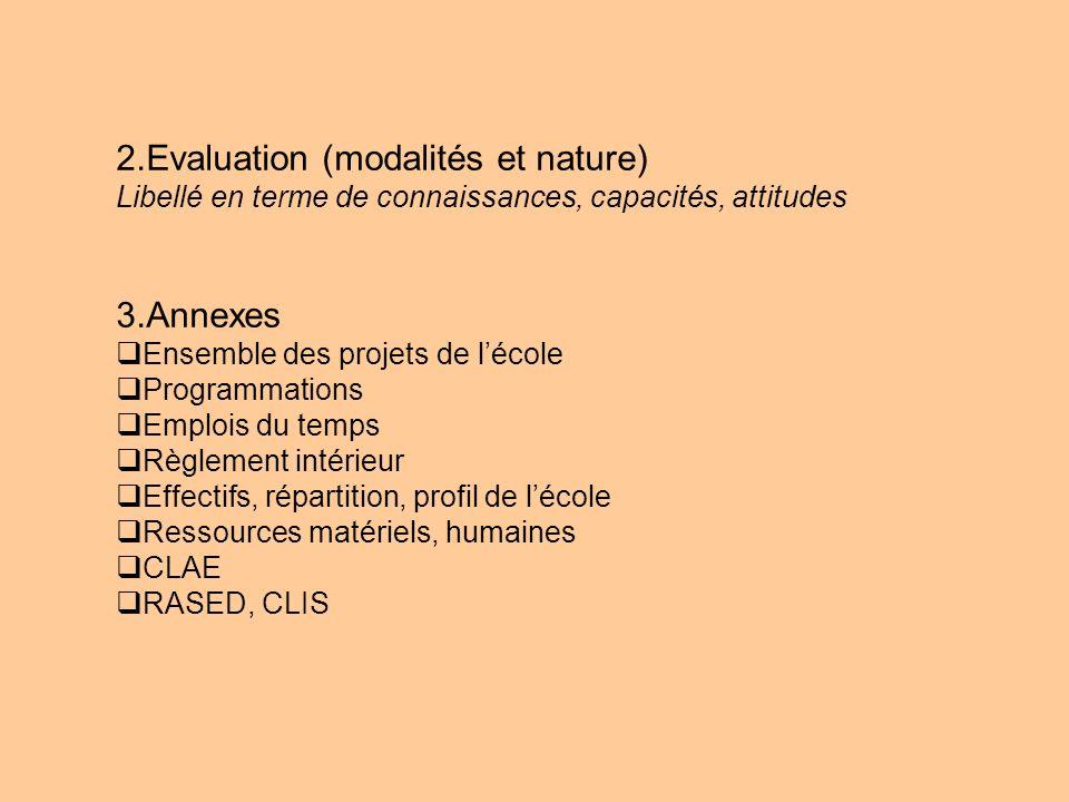 2.Evaluation (modalités et nature) Libellé en terme de connaissances, capacités, attitudes 3.Annexes Ensemble des projets de lécole Programmations Emp