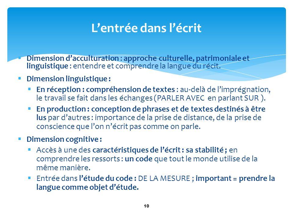 Dimension dacculturation : approche culturelle, patrimoniale et linguistique : entendre et comprendre la langue du récit. Dimension linguistique : En