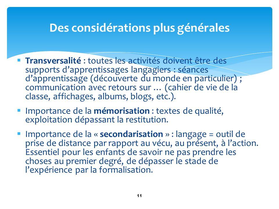 Transversalité : toutes les activités doivent être des supports dapprentissages langagiers : séances dapprentissage (découverte du monde en particulie