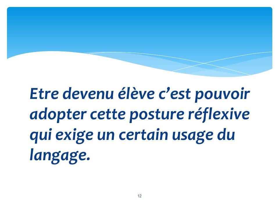 Etre devenu élève cest pouvoir adopter cette posture réflexive qui exige un certain usage du langage. 12