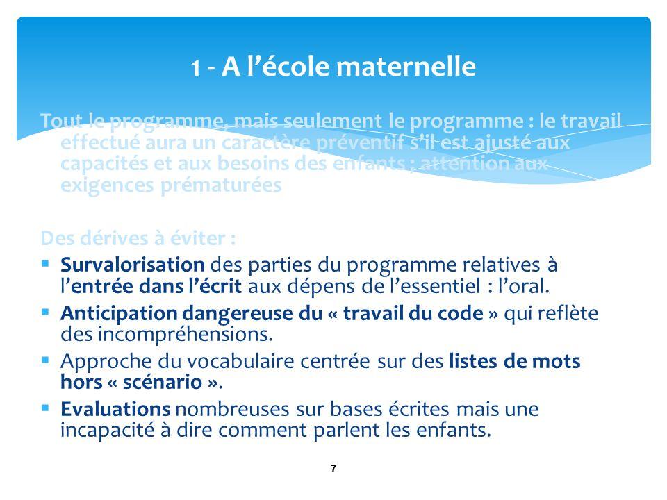 Tout le programme, mais seulement le programme : le travail effectué aura un caractère préventif sil est ajusté aux capacités et aux besoins des enfan