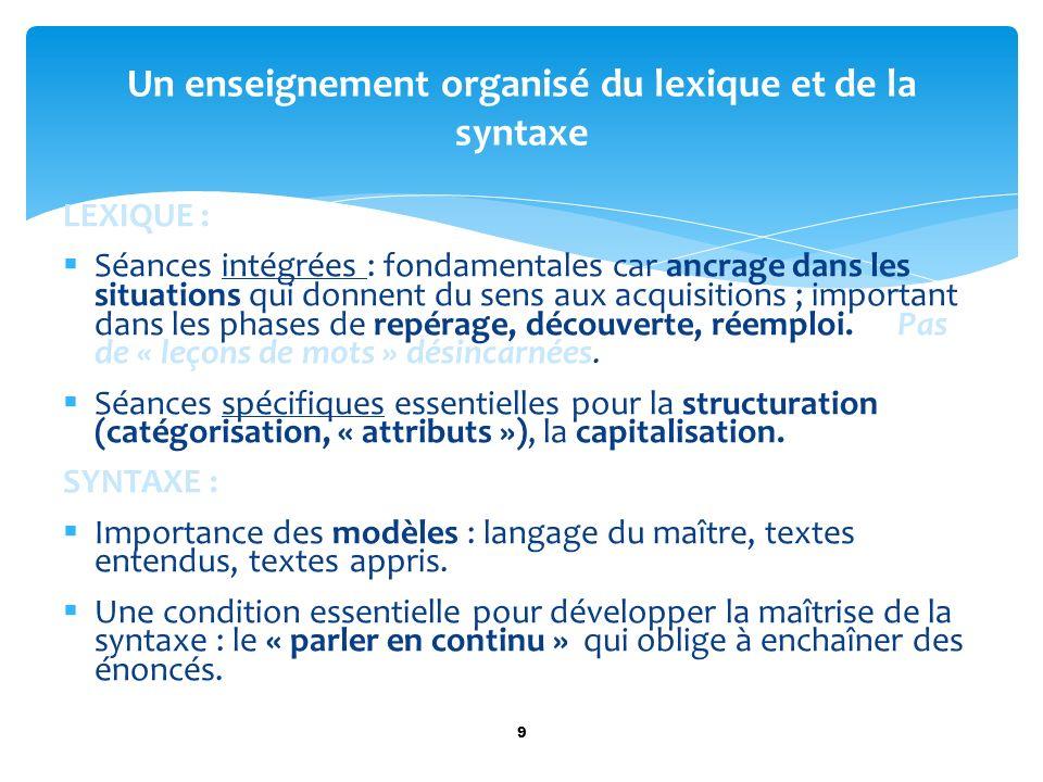 LEXIQUE : Séances intégrées : fondamentales car ancrage dans les situations qui donnent du sens aux acquisitions ; important dans les phases de repéra