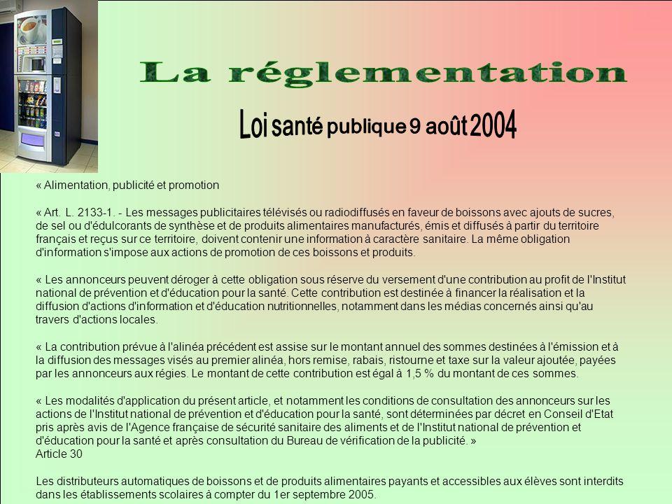 « Alimentation, publicité et promotion « Art. L. 2133-1. - Les messages publicitaires télévisés ou radiodiffusés en faveur de boissons avec ajouts de