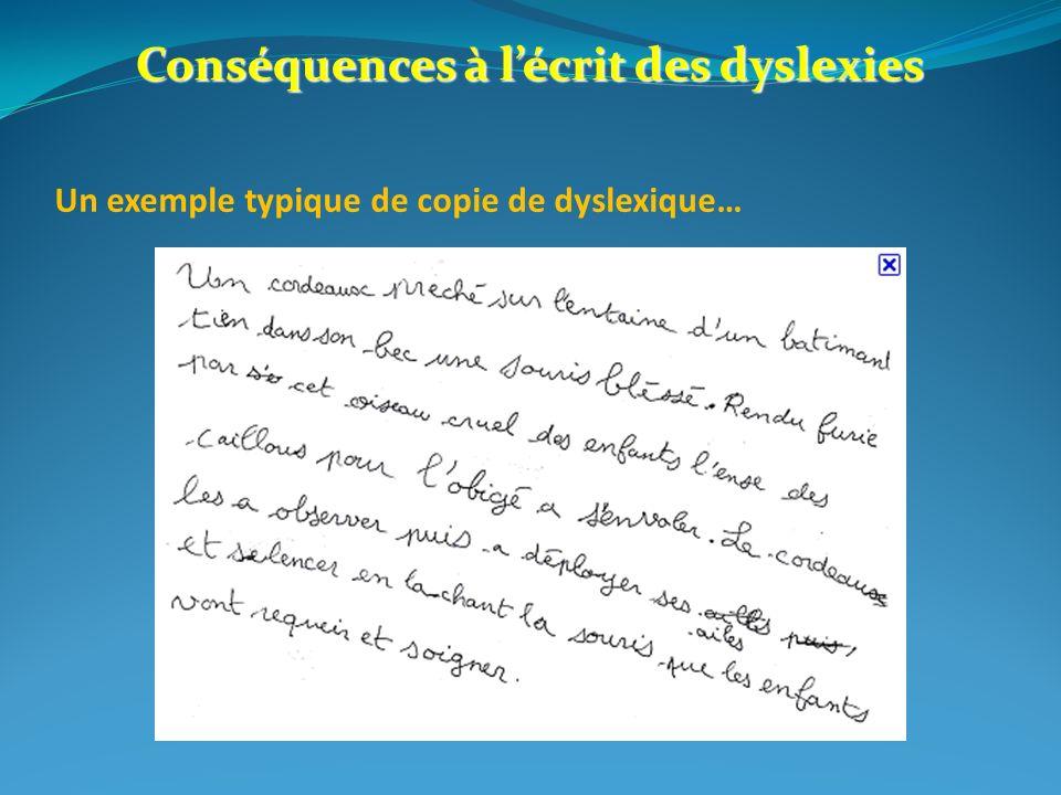 Conséquences à lécrit des dyslexies Un exemple typique de copie de dyslexique…
