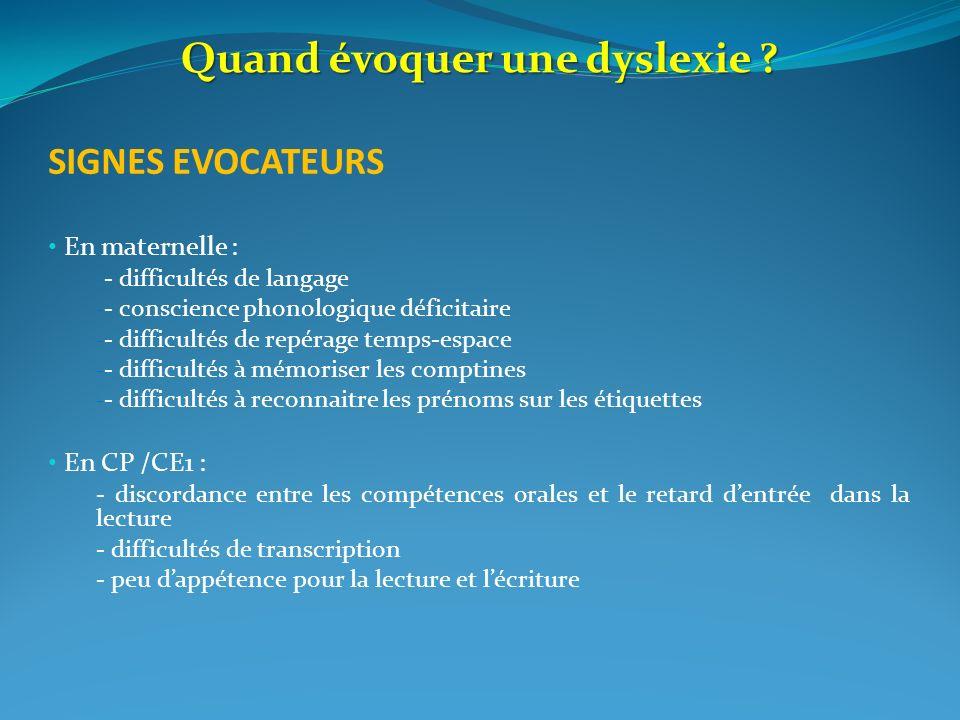 Quand évoquer une dyslexie ? SIGNES EVOCATEURS En maternelle : - - difficultés de langage - - conscience phonologique déficitaire - - difficultés de r