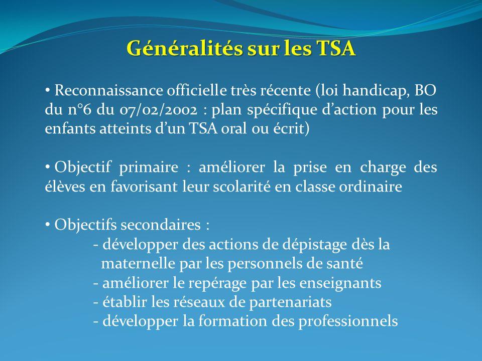 Généralités sur les TSA Reconnaissance officielle très récente (loi handicap, BO du n°6 du 07/02/2002 : plan spécifique daction pour les enfants attei