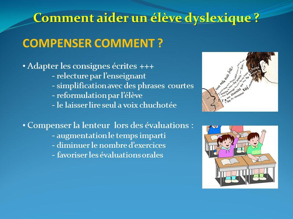 COMPENSER COMMENT ? Adapter les consignes écrites +++ - relecture par lenseignant - simplification avec des phrases courtes - reformulation par lélève