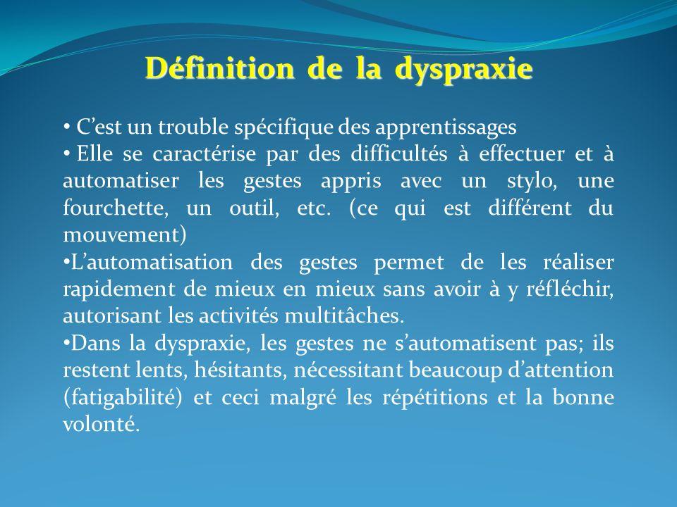Définition de la dyspraxie Cest un trouble spécifique des apprentissages Elle se caractérise par des difficultés à effectuer et à automatiser les gestes appris avec un stylo, une fourchette, un outil, etc.