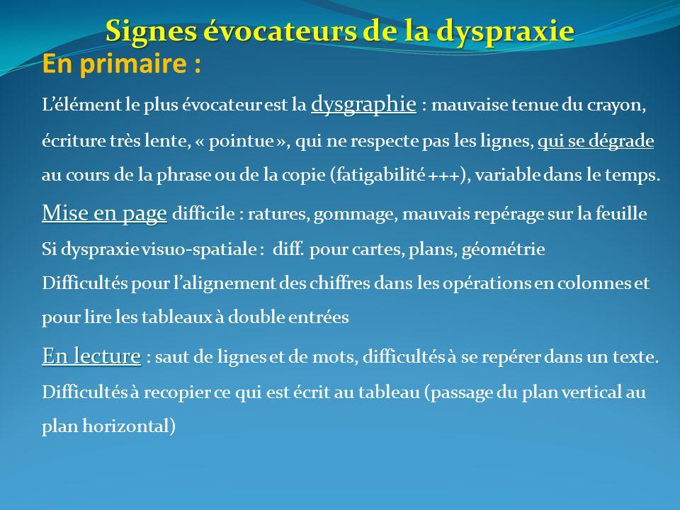 En primaire : dysgraphie Lélément le plus évocateur est la dysgraphie : mauvaise tenue du crayon, écriture très lente, « pointue », qui ne respecte pa