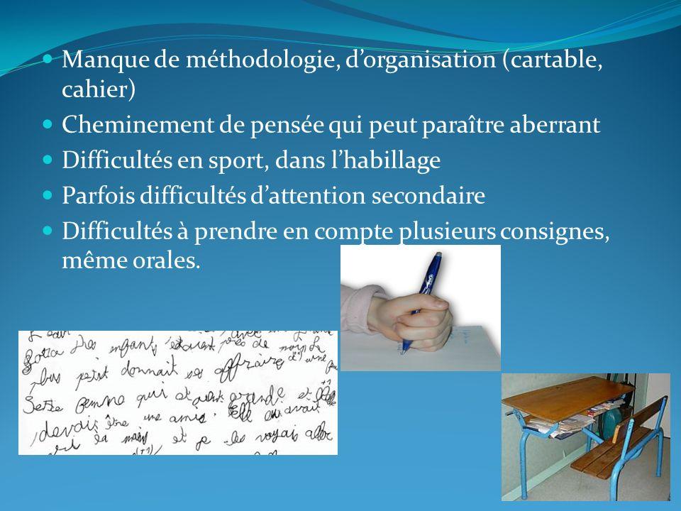 Manque de méthodologie, dorganisation (cartable, cahier) Cheminement de pensée qui peut paraître aberrant Difficultés en sport, dans lhabillage Parfoi