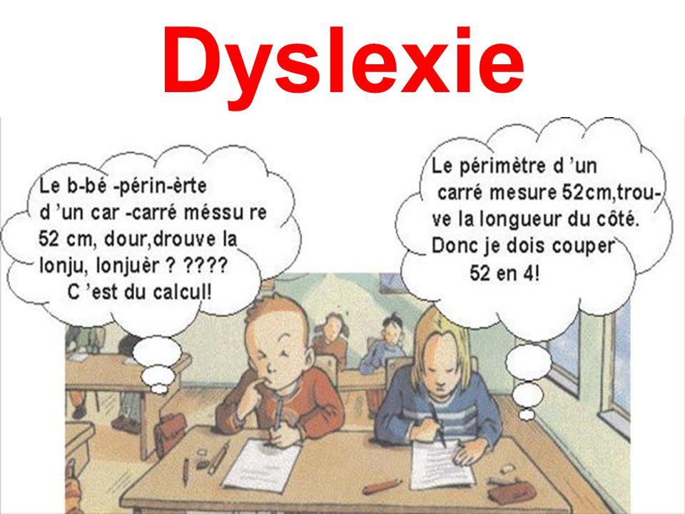 Définition de la dyslexie Cest un trouble spécifique des apprentissages, du langage écrit Il concerne environ 5% des enfants scolarisés Il se caractérise par une diminution des performances en LECTURE et en ECRITURE (dysorthographie) par rapport à l âge de lenfant.