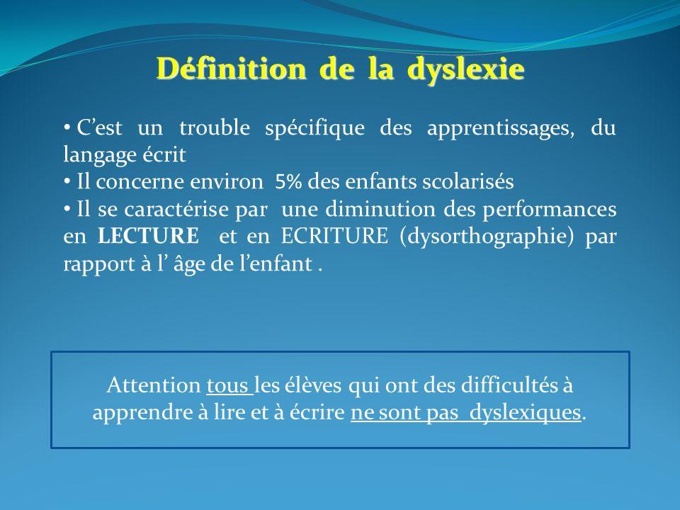 Définition de la dyslexie Cest un trouble spécifique des apprentissages, du langage écrit Il concerne environ 5% des enfants scolarisés Il se caractér