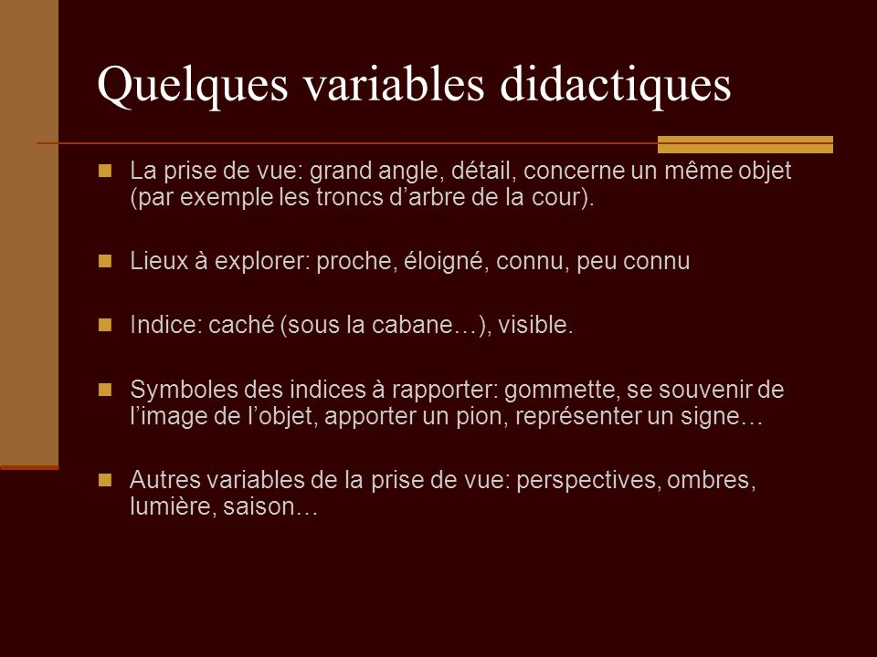 Quelques variables didactiques La prise de vue: grand angle, détail, concerne un même objet (par exemple les troncs darbre de la cour). Lieux à explor