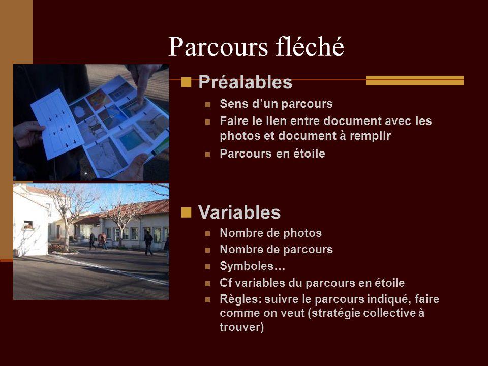 Parcours fléché Préalables Sens dun parcours Faire le lien entre document avec les photos et document à remplir Parcours en étoile Variables Nombre de
