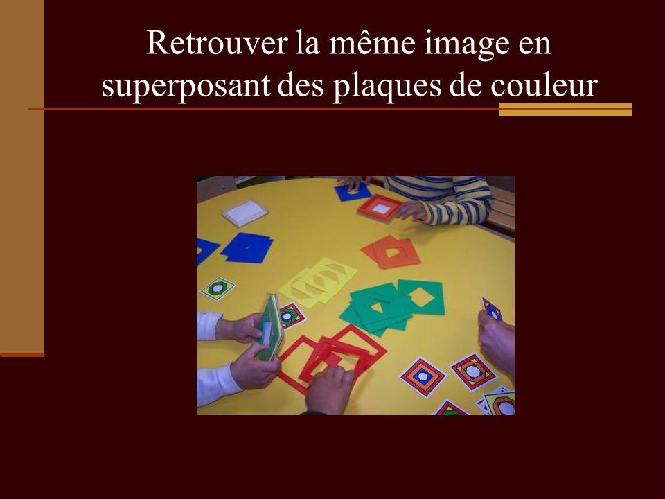 Retrouver la même image en superposant des plaques de couleur