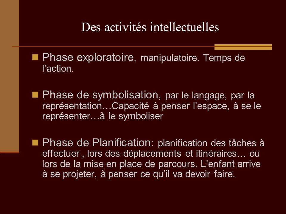 Des activités intellectuelles Phase exploratoire, manipulatoire. Temps de laction. Phase de symbolisation, par le langage, par la représentation…Capac