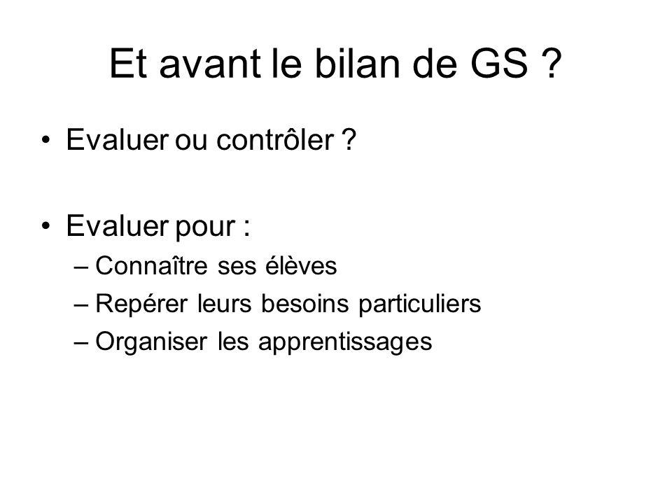 Et avant le bilan de GS ? Evaluer ou contrôler ? Evaluer pour : –Connaître ses élèves –Repérer leurs besoins particuliers –Organiser les apprentissage