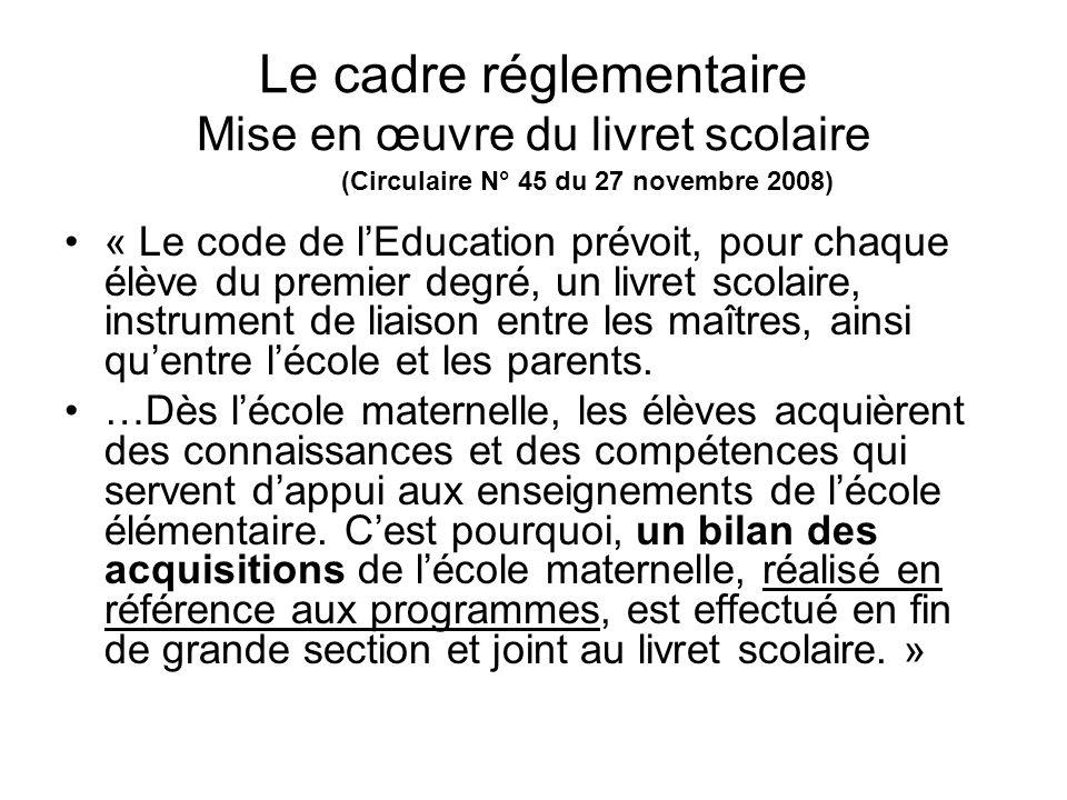 Le cadre réglementaire Mise en œuvre du livret scolaire (Circulaire N° 45 du 27 novembre 2008) « Le code de lEducation prévoit, pour chaque élève du p