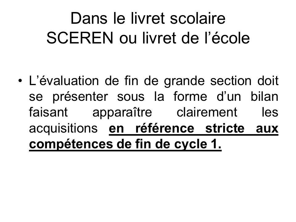 Dans le livret scolaire SCEREN ou livret de lécole Lévaluation de fin de grande section doit se présenter sous la forme dun bilan faisant apparaître c