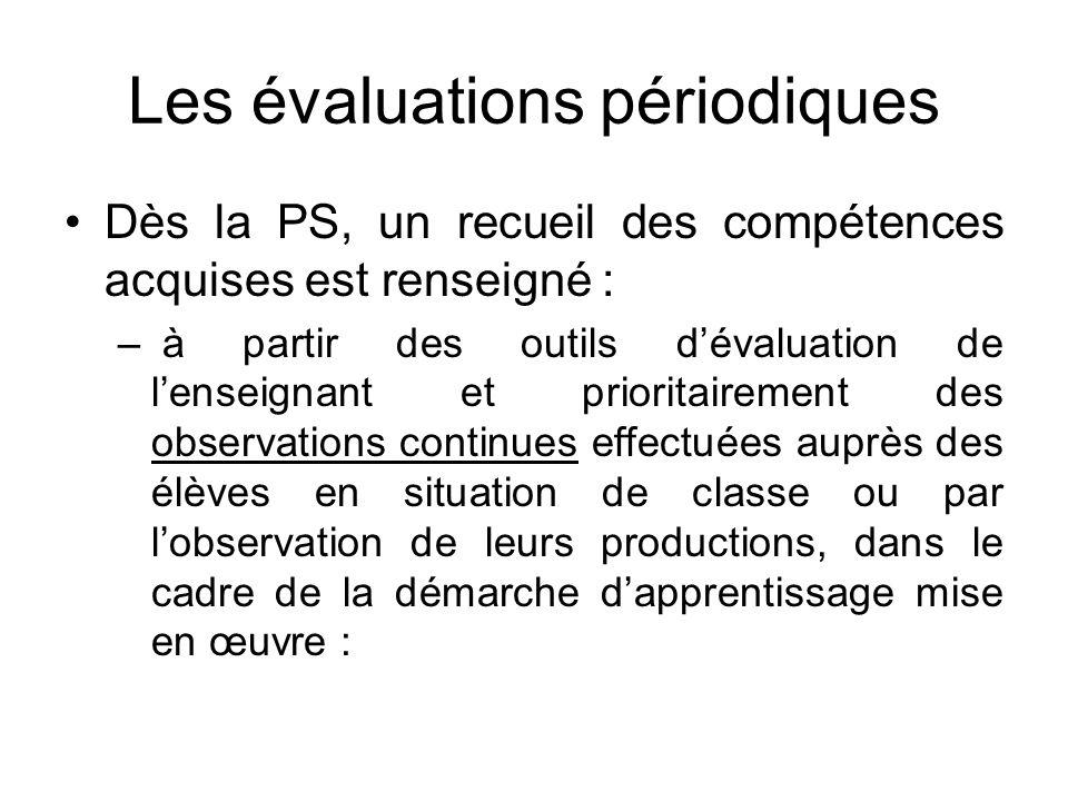 Les évaluations périodiques Dès la PS, un recueil des compétences acquises est renseigné : – à partir des outils dévaluation de lenseignant et priorit