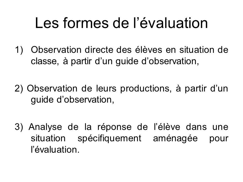 Les formes de lévaluation 1)Observation directe des élèves en situation de classe, à partir dun guide dobservation, 2) Observation de leurs production