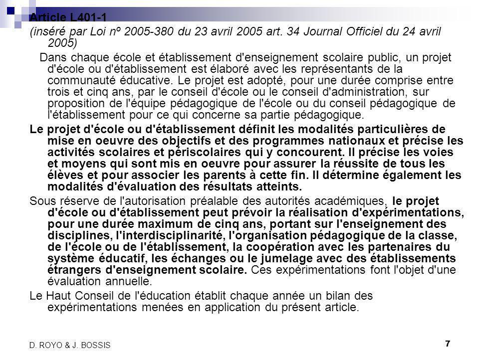 7 D.ROYO & J. BOSSIS Article L401-1 (inséré par Loi nº 2005-380 du 23 avril 2005 art.