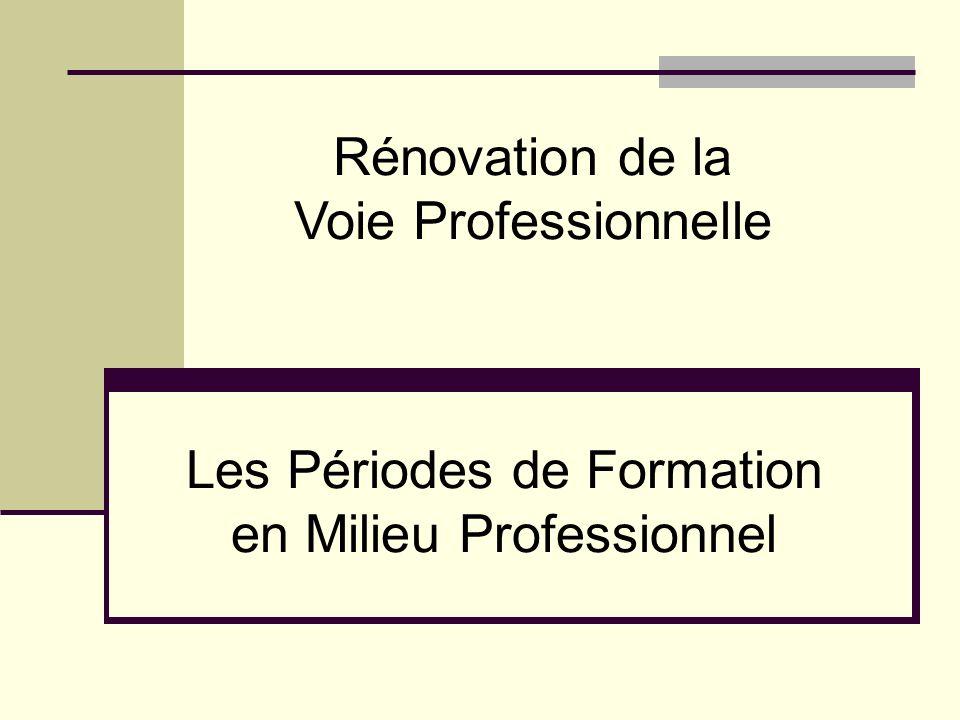 Les Périodes de Formation en Milieu Professionnel Rénovation de la Voie Professionnelle