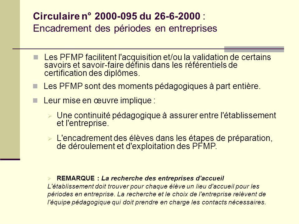 Circulaire n° 2000-095 du 26-6-2000 : Encadrement des périodes en entreprises Les PFMP facilitent l'acquisition et/ou la validation de certains savoir