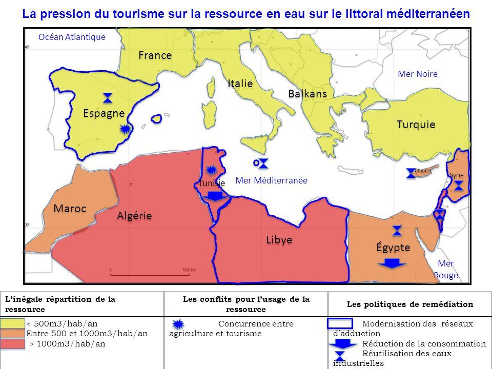 La pression du tourisme sur la ressource en eau sur le littoral méditerranéen Linégale répartition de la ressource Les conflits pour lusage de la ress