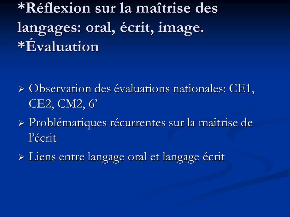 *Réflexion sur la maîtrise des langages: oral, écrit, image.
