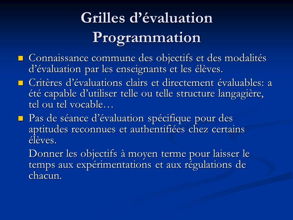 Grilles dévaluation Programmation Connaissance commune des objectifs et des modalités dévaluation par les enseignants et les élèves.