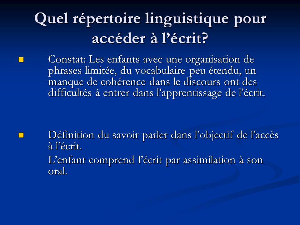Quel répertoire linguistique pour accéder à lécrit.