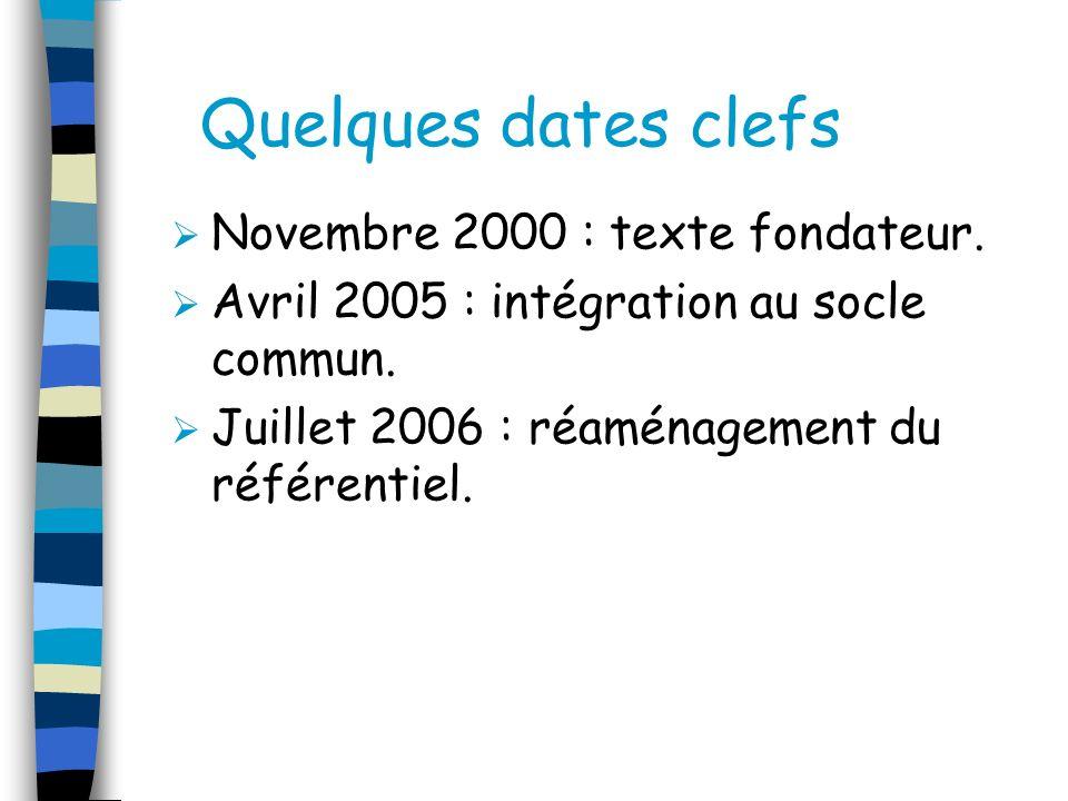 Quelques dates clefs Novembre 2000 : texte fondateur.