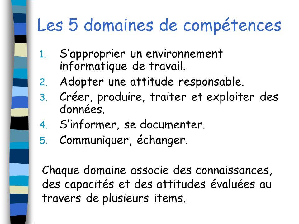 Les 5 domaines de compétences 1. Sapproprier un environnement informatique de travail.