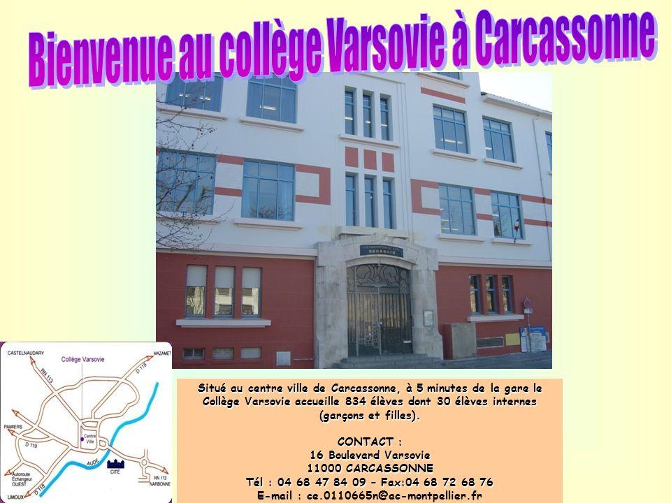 Situé au centre ville de Carcassonne, à 5 minutes de la gare le Collège Varsovie accueille 834 élèves dont 30 élèves internes (garçons et filles). CON