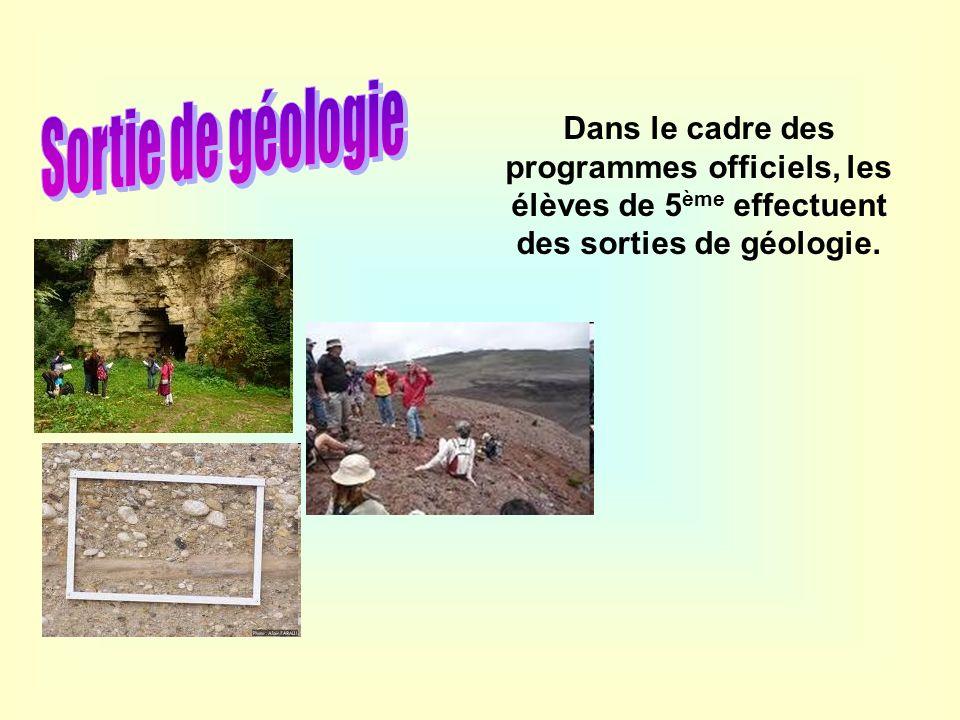 Dans le cadre des programmes officiels, les élèves de 5 ème effectuent des sorties de géologie.