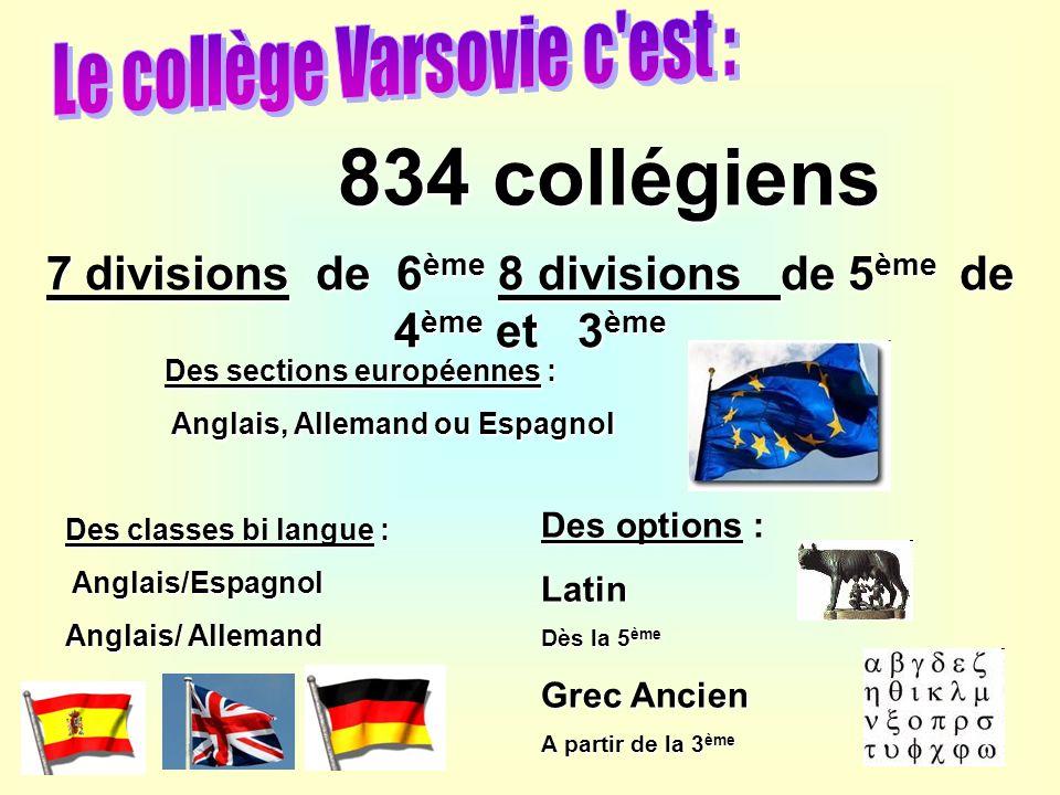 7 divisions de 6 ème 8 divisions de 5 ème de 4 ème et 3 ème 834 collégiens Des classes bi langue : Anglais/Espagnol Anglais/Espagnol Anglais/ Allemand