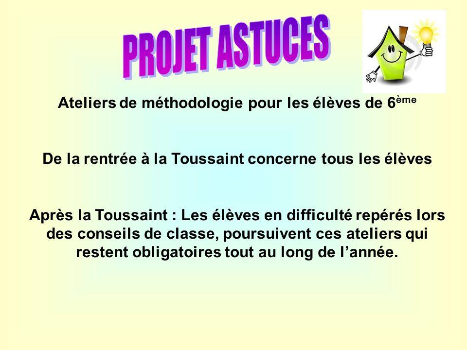 Ateliers de méthodologie pour les élèves de 6 ème De la rentrée à la Toussaint concerne tous les élèves Après la Toussaint : Les élèves en difficulté