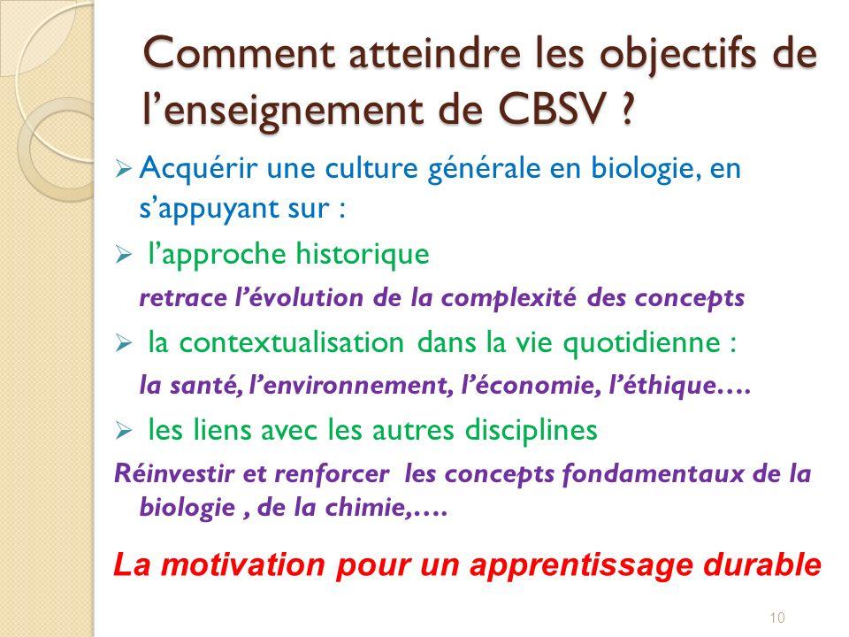 Comment atteindre les objectifs de lenseignement de CBSV ? Acquérir une culture générale en biologie, en sappuyant sur : lapproche historique retrace