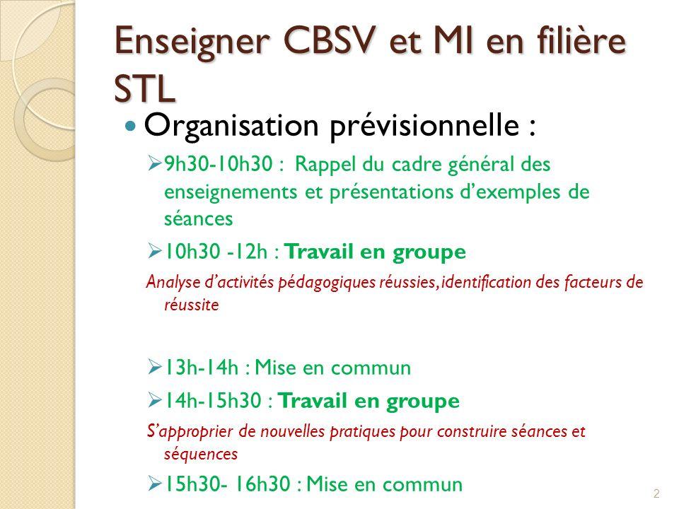 Enseigner CBSV et MI en filière STL Organisation prévisionnelle : 9h30-10h30 : Rappel du cadre général des enseignements et présentations dexemples de