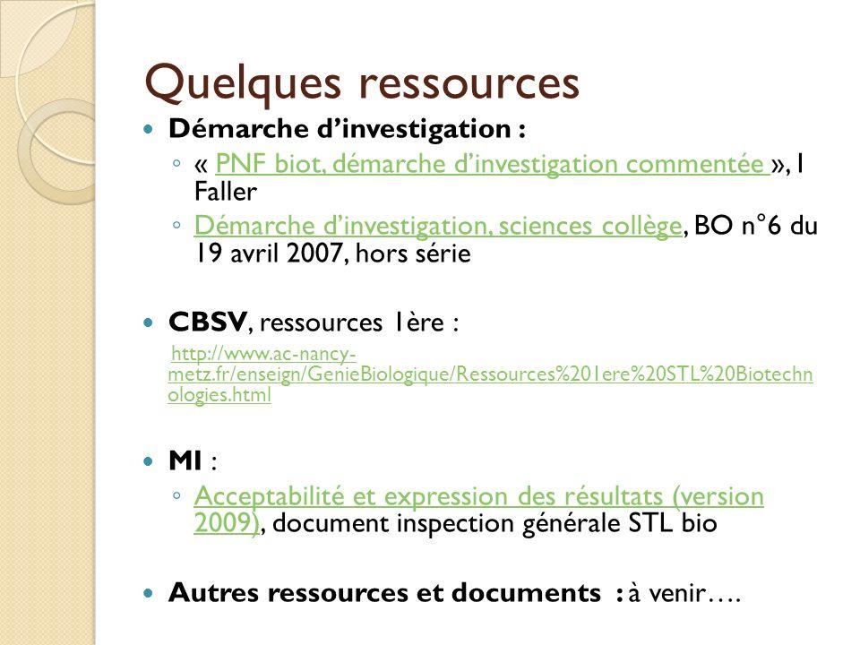 Quelques ressources Démarche dinvestigation : « PNF biot, démarche dinvestigation commentée », I FallerPNF biot, démarche dinvestigation commentée Dém