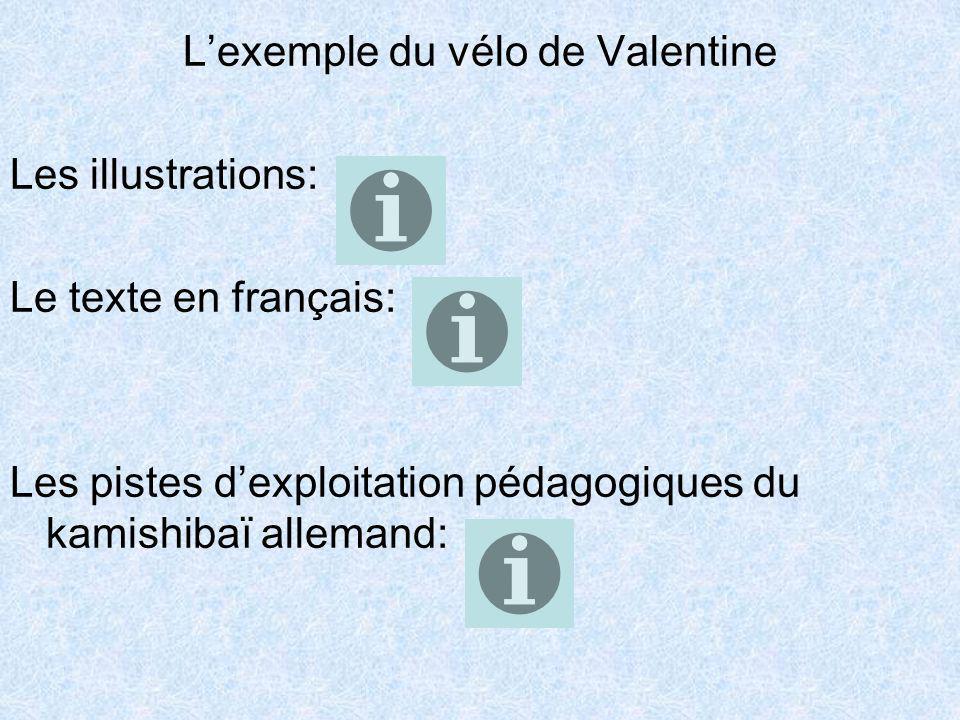Lexemple du vélo de Valentine Les illustrations: Le texte en français: Les pistes dexploitation pédagogiques du kamishibaï allemand: