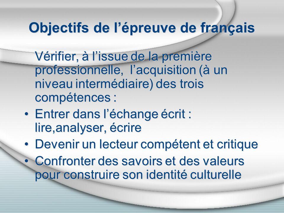 Objectifs de lépreuve de français Vérifier, à lissue de la première professionnelle, lacquisition (à un niveau intermédiaire) des trois compétences :