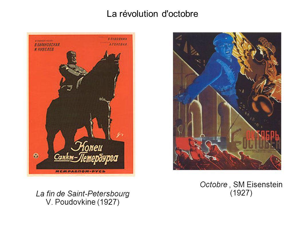 La révolution d'octobre La fin de Saint-Petersbourg V. Poudovkine (1927) Octobre, SM Eisenstein (1927)